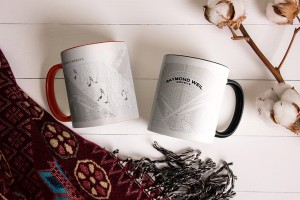 Two white mugs, pair of cups, Mockup.