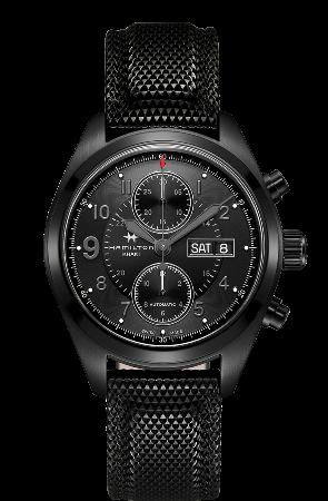 ハミルトン カーキ フィールド オートマティック クロノグラフ フルブラック H71626735